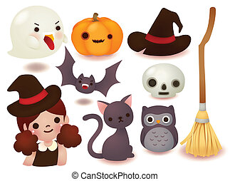 mignon, halloween, collection, icône