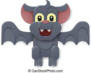 mignon, halloween, vampire, chauve-souris, dessin animé