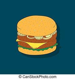 mignon, hand-drawn, dessin animé, sandwich