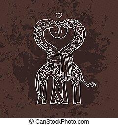 mignon, heart., cou, amour, girafes, forme, commun, scarf., paire, courbé