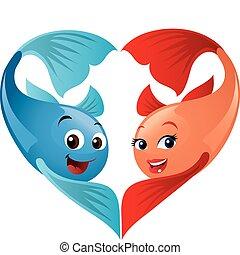 mignon, heart., valentine, former, fish, valentin, needs!, couple, amusement, dessin animé, approche, ton, jour