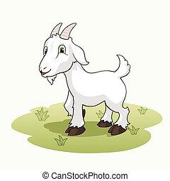 mignon, herbe, chèvre, dessin animé