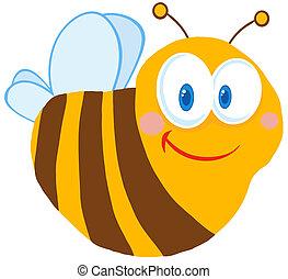 mignon, heureux, caractère, dessin animé, abeille