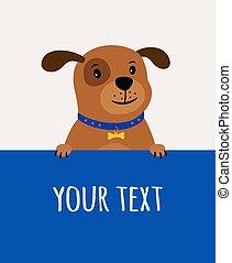 mignon, heureux, chien, carte, salutation