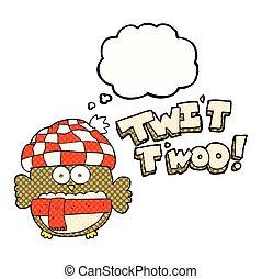 mignon, hibou, twit, chant, a pensé bulle, dessin animé, twoo