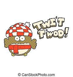 mignon, hibou, twit, chant, dessin animé, twoo