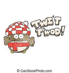 mignon, hibou, twit, textured, chant, dessin animé, twoo