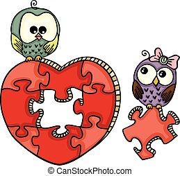 mignon, hiboux, à, forme coeur, puzzle