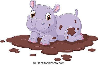mignon, hippopotame, boue