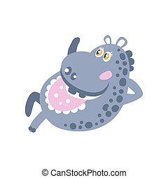 mignon, hippopotame, caractère, illustration, vecteur, dessin animé, mensonge