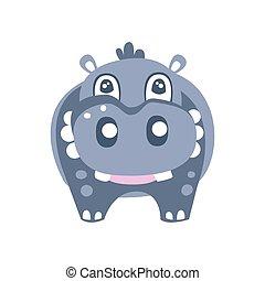 mignon, hippopotame, caractère, illustration, vecteur, poser, dessin animé