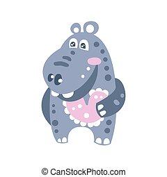mignon, hippopotame, caractère, illustration, vecteur, sourire, dessin animé