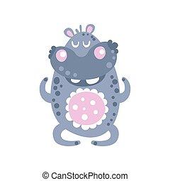 mignon, hippopotame, caractère, méditer, illustration, vecteur, dessin animé