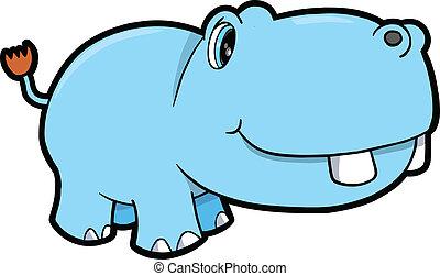 mignon, hippopotame, safari, animal, art