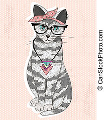 mignon, hipster, chat