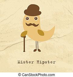 mignon, hipster, oiseau, illustration