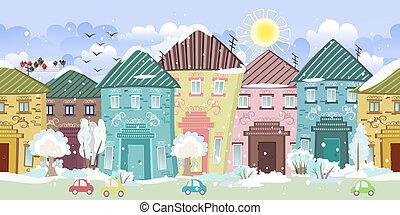 mignon, hiver, arbres., seamless, maisons, frontière
