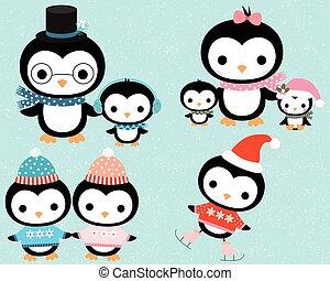 mignon, hiver, manchots, groupe famille