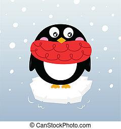 mignon, hiver, manchots, sur, étincelant, iceberg