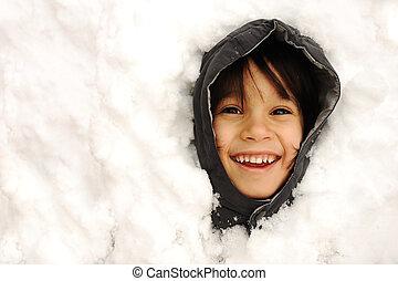 mignon, hiver, neige, snowtime, bonheur, gosse
