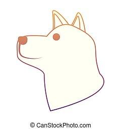 mignon, husky, icône chien