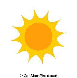 mignon, icône, plat, soleil