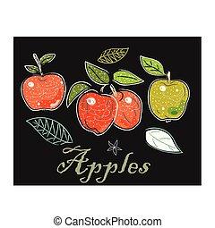 mignon, icône, scandinave, main, style., illustration, apples., dessiné, vecteur