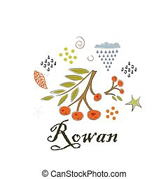mignon, icône, scandinave, main, style., illustration, rowan., dessiné, vecteur