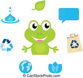 mignon, icônes, écologie, caractère, nature, grenouille, eau, vert, symboles