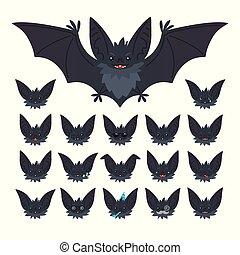 mignon, il, bat-eared, conception, différent, set., voler, caractère, vampire, émotions, style., museau, hallowen, emoticon, plat, collection, illustration, impression, chauve-souris, decoration., gris, s, vecteur