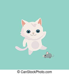 mignon, illustration., chat