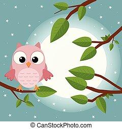 mignon, illustration., coloré, plat, arbre, owl., lune, forest., vecteur, dessin animé, oiseau