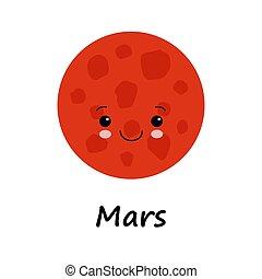 mignon, illustration, coloré, sourire, dessin animé, vecteur, espace blanc, arrière-plan., planète, face., rouges, mars