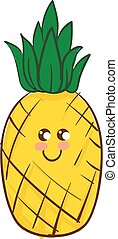 mignon, illustration., colorer image, vecteur, ananas, ou