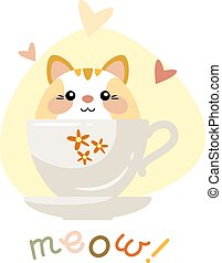 mignon, illustration., cup., séance, vecteur, chaton