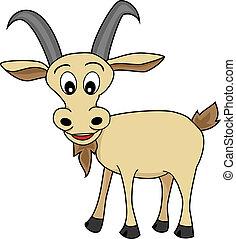 mignon, illustration, dessin animé, regarder, chèvre, heureux