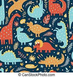 mignon, illustration., dino, modèle, leaves., seamless, exotique, dinosaures, vecteur, conception, dessiné, main, kids.