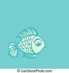 mignon, illustration., drawing., fish, main, dessiné, dessin animé
