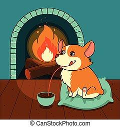 mignon, illustration., gallois, calendriers, chien, chocolat, chaud, vecteur, corgi, fireplace., posters., cartes, boissons