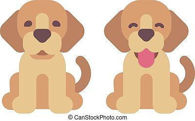 mignon, illustration., icônes, deux, plat, animaux familiers, chiots, heureux