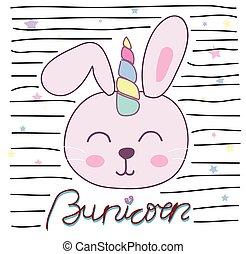 mignon, illustration, lapin, vecteur, conception, licorne, enfants