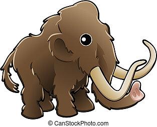 mignon, illustration, mammouth, laineux