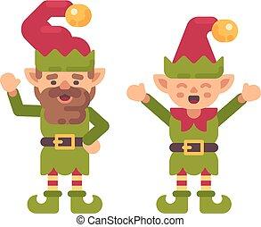 mignon, illustration., plat, caractère, deux, vacances, noël, elfes, icône