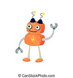 mignon, illustration, robot., arrière-plan., vecteur, orange, blanc