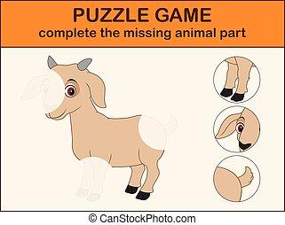 mignon, image, complet, disparu, cartoon., puzzle, chèvre, parties, trouver