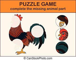 mignon, image, complet, disparu, cartoon., puzzle, coq, parties, trouver