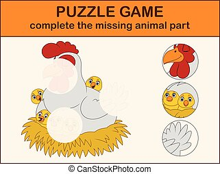 mignon, image, complet, nest., puzzle, disparu, dessin animé, parties, poussins, poule, trouver