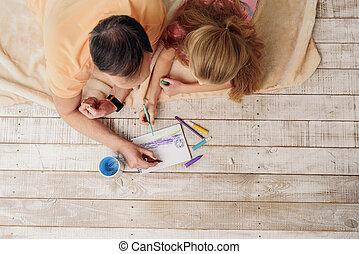 mignon, image, peinture, maison famille