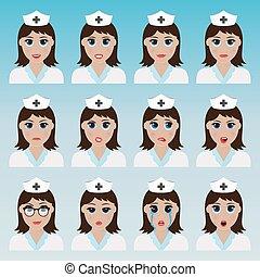 mignon, infirmière, ensemble, emoticons.