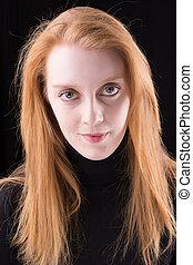 mignon, irlandais, tête, figure, arrière-plan., closeup, portrait, roux, female., noir